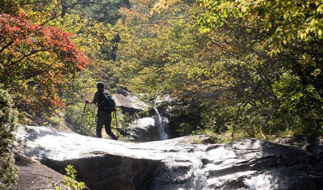 붉게 물든 계곡을 오르는 등산객.