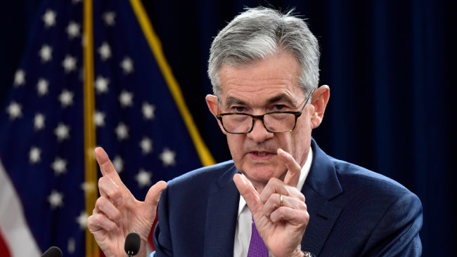 제롬 파월 미국 연방준비제도(연준) 의장이 9월 26일(현지시간) 연방공개시장위원회(FOMC) 직후 기자회견을 하고 있다. 연준은 이날 FOMC에서 연방기금금리를 0.25%포인트 인상했다. [AP=뉴시스]