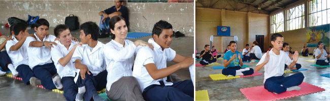 엘살바도르 산살바도르의 호아킨 로데스노 학교 학생들이 뇌교육 수업과 명상을 하고 있다.