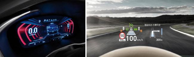주행 모드에 따라 계기판 색깔이 변하는 12.3인치 3D 클러스터(왼쪽). 운전석 앞 유리에 비친 HUD 화면.