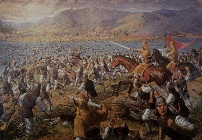 612년(영양왕 23) 중국 수나라 군대를 고구려가 살수(지금의 청천강)에서 크게 격파한 살수대첩을 그린 기록화. [한국민족문화대백과사전]