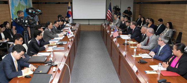2018년 6월 26일 서울 서초동 국립외교원에서 열린 한미 방위비 분담 협상 제4차 회의. [동아DB]