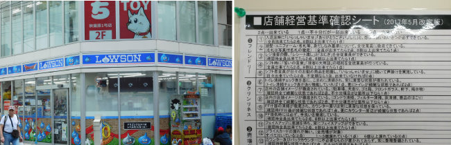 일본 편의점 로손(왼쪽)과 점포경영기준 체크리스트.