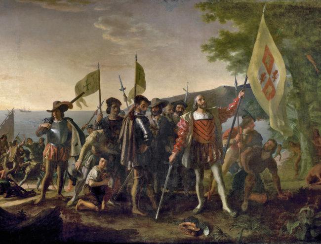 서인도제도에 도착한 콜럼버스. [위키피디아]