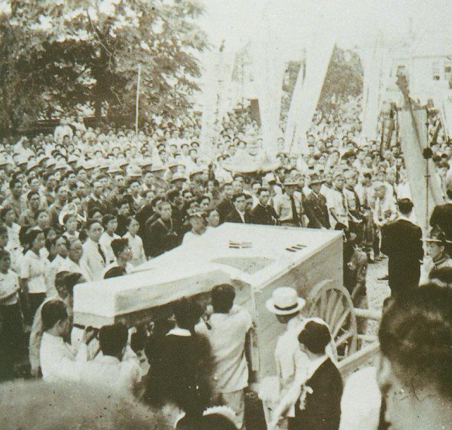 1946년 7월 6일 서울 효창공원에서 열린 윤봉길 의사 국민장.