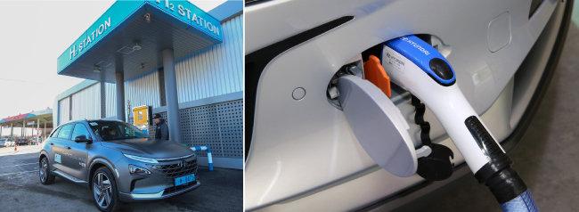경기 여주에 있는 수소충전소에서 현대 수소차 넥쏘가 충전하고 있다(왼쪽). 수소차는 수소를 충전한 뒤 차량 내 연료전지를 통해 공기 중 산소와 반응시켜 생성한 전기로 구동된다. [사진 제공·현대자동차]