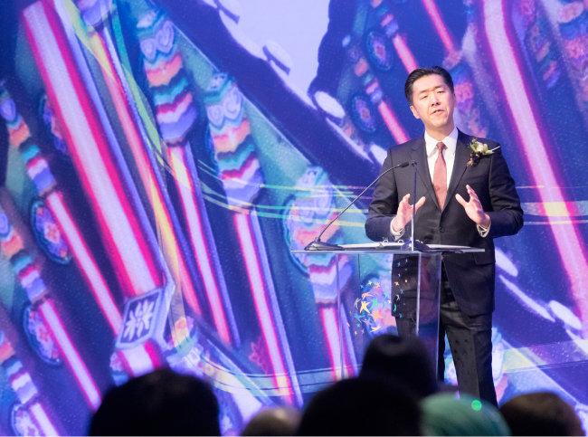 문현진 글로벌피스재단 의장이 2월 28일 서울 중구 롯데호텔에서 열린 '글로벌피스컨벤션 2019'에서 연설하고 있다. [지호영 기자]