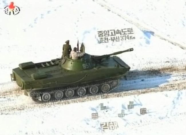 2010년 1월 조선중앙TV가 방영한 105 땅크사단 기동훈련 [조선중앙TV캡처]