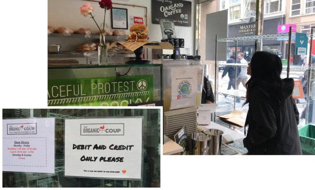 현금을 받지 않는 유기농 패스트푸드 음식점 '오가닉 쿠' 매장 풍경과 유리창에 붙어 있는 안내문. '직불카드와 신용카드로만 결제할 수 있다'고 적혀 있다.