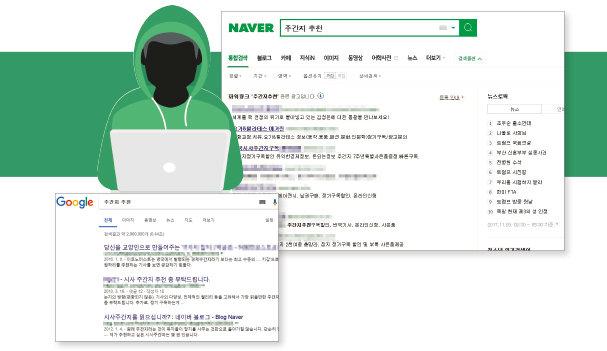 11월 9일 네이버에 '주간지 추천'이라는 키워드를 검색한 결과. 가장 상단에 검색어 광고 업체의 홈페이지가 보인다(위). 같은 키워드를 구글에서 검색한 결과. 상단 광고 없이 바로 검색 결과를 확인할 수 있다.