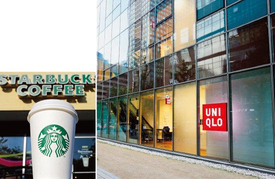 글로벌 기업 스타벅스(왼쪽)와 유니클로는 과도한 로열티로 '국부 유출'이란 눈총을 받고 있다.[동아DB]