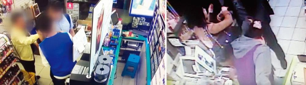 서울 금천구의 한 편의점에서 손님에게 화풀이 당하는 아르바이트생의 모습.(왼쪽),한 편의점에서 손님이 아르바이트생을 폭행하는 모습.(오른쪽)[유튜브 캡처]