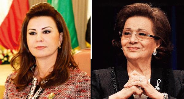 제인 엘아비디네 벤 알리 전 튀니지 대통령의 부인 레일라(왼쪽)와 호스니 무바라크 전 이집트 대통령의 부인 수전.[위키피디아]