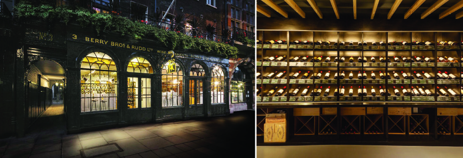 영국 런던 세인트 제임스가 3번지에 위치한 와인숍 베리 브라더스 앤 러드(BBR). 1698년 설립 이후 줄곧 이곳에 자리하고 있다(왼쪽). BBR의 고급 와인 진열장.[사진 제공·BBR]