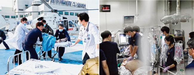 이강현 교수(오른쪽에서 두 번째)가 심정지 환자를 침대에 실어 권역응급센터 내 응급소생실로 옮기고 있다(왼쪽). 이 환자는 병원에서 30분 이상 심폐소생술을 받았으나 끝내 숨을 거뒀다.[박해윤 기자]