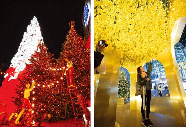 서울 압구정 갤러리아 백화점 앞 크리스마스트리(완쪽)와 영등포 타임스퀘어 앞 트리. [박해윤 기자]