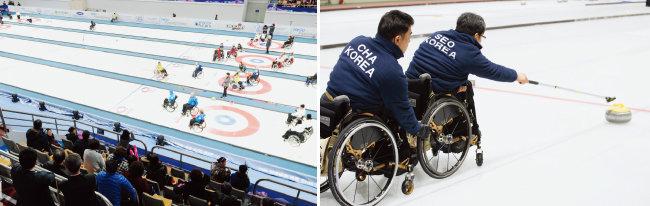 3월 4일 강원 강릉컬링센터에서 열린 '2017 세계 휠체어컬링 챔피언십'에서 각국 대표 선수들이 경기를 하고 있다(왼쪽). 투구 중인 서순석 선수는 팀원 중 유일하게 패럴림픽(2014 소치대회) 참가 경험이 있다. [동아DB, 지호영 기자]