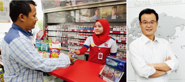 인도네시아 자카르타의 한 편의점에서 ESSE 담배를 팔고 있다(왼쪽). KT&G의 백복인 사장은 공채출신 첫 CEO로 KT&G를 수출기업으로 도약시켰다.  [사진 제공·KT&G]