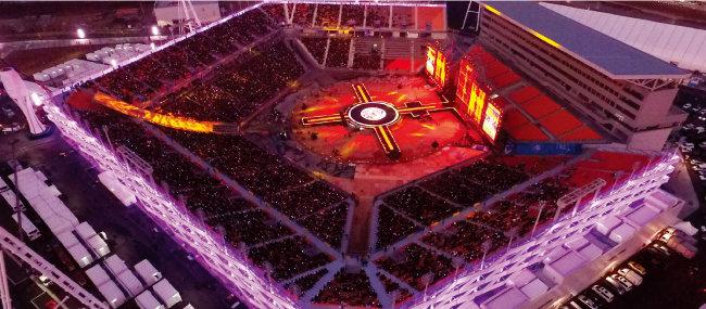 지난해 11월 4일 강원 평창군 대관령면 평창동계올림픽 개·폐회식장인 올림픽플라자에서 올림픽 성공 개최를 기원하는 '2017 드림콘서트 인 평창' 행사가 열렸다. [뉴시스]