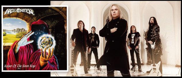 독일 헤비메탈밴드 헬로윈(오른쪽)과 1987년 발표된 정규 2집 앨범 'Keeper Of The Seven Keys Part 1'. [헬로윈 공식 홈페이지]