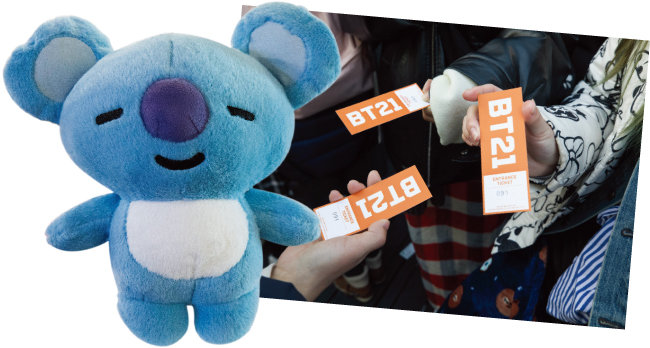 방탄소년단 RM이 크리에이팅에 참여한 '코야'.(왼쪽) 라인프렌즈 측에서 배부한 입장권. [조영철 기자]