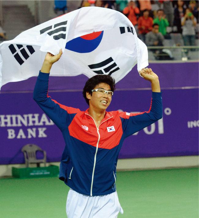 2014년 9월 29일 열린 '2014 인천아시아경기대회' 테니스 남자복식 결승전에서 승리해 금메달이 확정된 후 정현이 태극기를 들고 세리머니를 하고 있다. [뉴시스]
