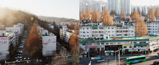 1월 21일 국토교통부가 재건축초과이익환수금 시뮬레이션 결과를 발표하자 길 하나를 사이에 둔 서울 서초구 반포주공1단지 1·2·4주구(왼쪽)와 3주구의 희비가 엇갈렸다. [뉴시스]