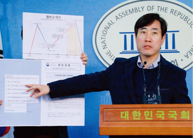 1월 19일 오전 바른정당 하태경 최고위원이 서울 여의도 국회 정론관에서 작전세력이 정부의 가상화폐 규제 소식을 이용했다고 주장하고 있다. [뉴스1]