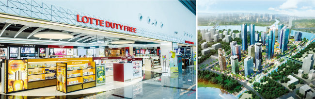 지난해 11월 그랜드 오픈한 롯데면세점 다낭공항점(왼쪽)과 베트남 투티엠 지구 '에코스마트시티' 조감도. [사진 제공·롯데]