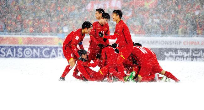 2018 아시아축구연맹(AFC) U-23 챔피언십 결승에서 우즈베키스탄에 아쉽게 패해 준우승을 차지한 베트남 선수들. [스포츠동아]