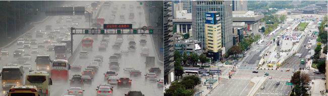 지난해 추석 텅 빈 서울 광화문 거리(오른쪽)와 귀성객으로 꽉 찬 고속도로. [뉴시스]