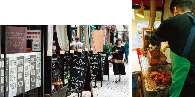 경기 성남시 분당구 카페거리. 카페가 밀집해 있다.(왼쪽) 하루 종일 주방에서 치킨을 튀겨도 가맹점주의 수익은 크지 않다. [뉴스1, 동아DB]