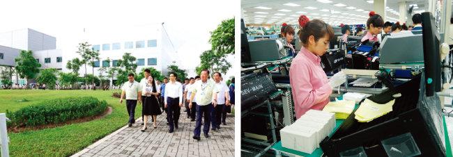 베트남 타이응웬성 옌빈공단에 자리한 삼성전자 휴대전화 생산 법인.(왼쪽) 베트남 박닌성 옌퐁공단에 위치한 삼성전자 휴대전화 공장 생산 라인. [사진 제공·삼성전자]
