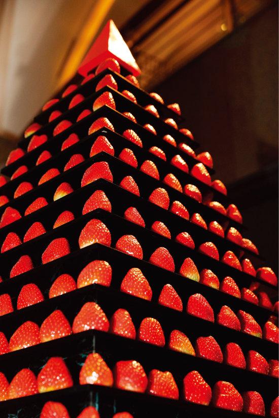 딸기 뷔페에서 가장 돋보이는 24단 베리타워. [박해윤 기자]