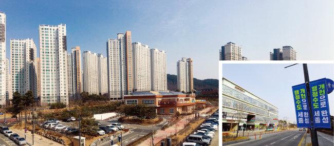정부세종청사 북쪽 도담동 도램마을 아파트 단지들은 2014~2015년 입주를 시작해 현재 정비가 완료됐다. 이들 단지는 최초 분양가보다 2배가량 오른 집이 적잖다. [박해윤 기자]
