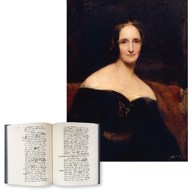 1840년 그려진 40대의 메리 셸리 초상화(위)와 올해 영국에서 출간된 '프랑켄슈타인' 육필원고. 교정을 본 글씨는 그의 남편 퍼시 비시 셸리의 것이다.