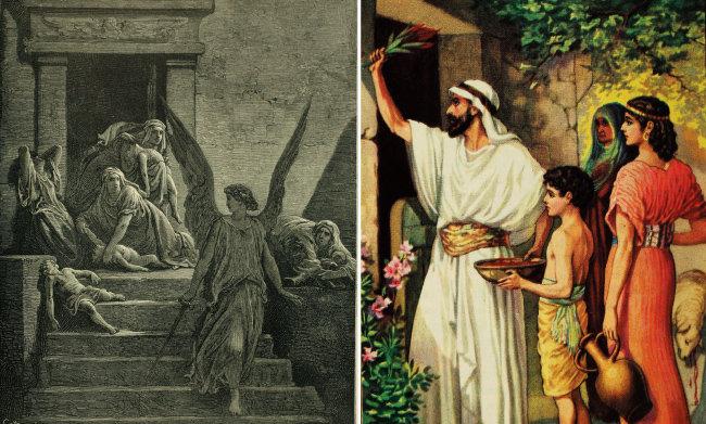 성경에 등장하는 이집트(애굽)의 마지막 열 번째 재앙을 묘사한 그림(왼쪽). 이스라엘 사람들이 재앙을 피하기 위해 양의 피를 집 문설주와 인방에 바르며 유월절을 지키는 모습.
