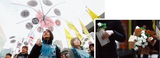 3월 8일 오후 서울 종로구 광화문광장에서 전국민주노동조합총연맹 소속 노동자들이 3·8 세계 여성의 날 전국여성노동자대회를 마친 후 행진을 준비하고 있다(왼쪽). 세계 여성의 날인 3월 8일 오전 광화문광장 인근에서 한국여성의전화 관계자들이 성폭력 저항운동에 대한 연대와 지지를 상징하는 하얀 장미를 시민들에게 나눠주고 있다. [뉴시스]