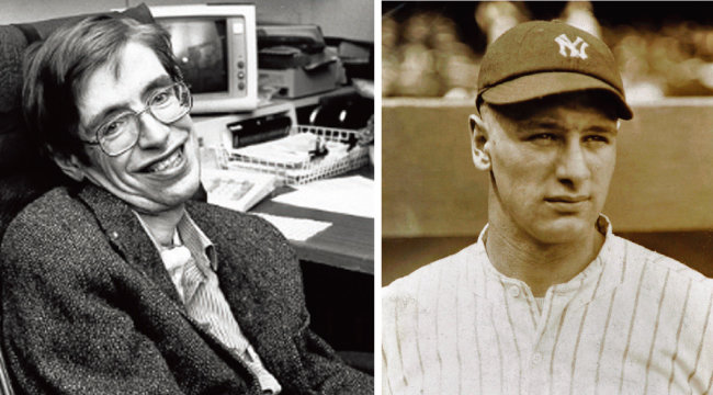 스티븐 호킹(왼쪽)과 루 게릭. [위키피디아]