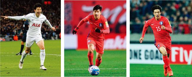 최근 상승세를 보이고 있는 손흥민(토트넘 홋스퍼). 한국 축구 국가대표팀 명단에 이름을 올린 박주호(울산현대축구단)와 홍정호(전북현대모터스·왼쪽부터). [동아일보]
