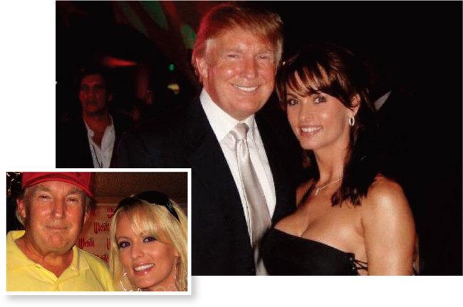 스토미 대니얼스(아래 오른쪽)와 캐런 맥두걸이 각자의 트위터에 올린 도널드 트럼프 대통령과 2006년에 찍은 사진.
