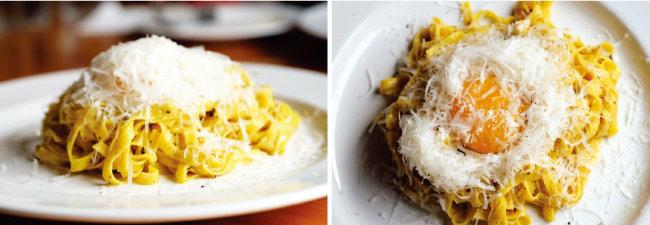 올리브 오일과 송로버섯으로 맛을 낸 타야린. 치즈와 달걀노른자를 얹어 뜨거울 때 버무려 먹는다.