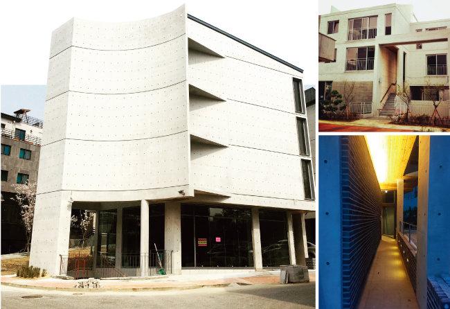 상가주택 밀집지역에 상가주택을 지을 때도 기존 건물들과 차별화하기 위해 디자인 특화 전략을 세우는 것이 좋다. 사진은 경기 수원시 영통구 한 상가주택. [건축설계사무소 SPACEaB]