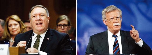 도널드 트럼프 미국 대통령은 마이크 폼페이오 국무장관 내정자(왼쪽)에게는 북·미 정상회담을, 존 볼턴 백악관 국가안보보좌관에게는 북한 응징 준비를 맡긴 것으로 보인다. [뉴시스]