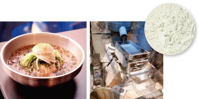 메밀 물막국수(왼쪽). 곱게 간 메밀가루와 메밀을 분쇄하는 기계.