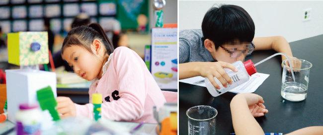 교내 과학탐구대회에서 한 어린이가 발명품 만들기를 하고 있다(왼쪽). 각종 경시대회는 대치동맘조차 부담스러워한다. [뉴시스]