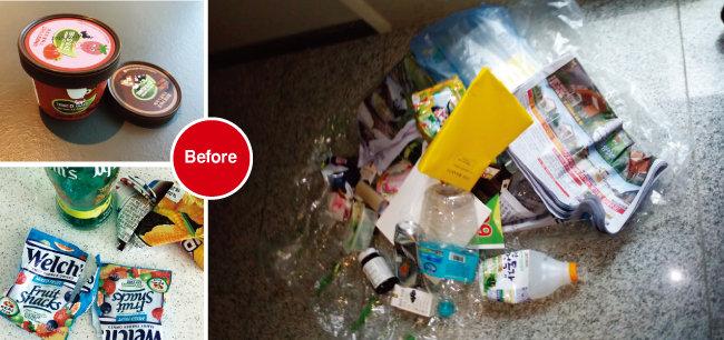 쓰레기 줄이기 실천 전 주말 사흘 동안 재활용쓰레기만 20ℓ가량 나왔다. 아이들이 간식을 먹은 후 나오는 비닐류 쓰레기가 생각보다 많았다.