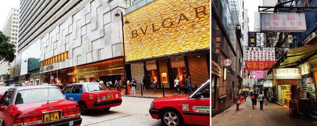 홍콩 명품 거리를 지나는 빨간 택시는 홍콩의 상징과도 같다(왼쪽). 골목마다 다닥다닥 붙어 있는 간판이 이색적이다.