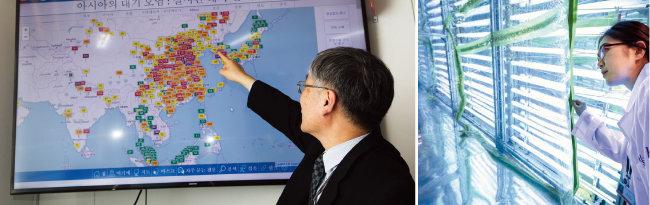 동북아 대기오염 현황을 설명하는 배귀남 미세먼지 국가전략프로젝트 사업단장(왼쪽). 초미세먼지(PM2.5)를 구성하는 물질이 어떻게 생겨났는지 추적하기 위한 연구 장비인 '스모그 체임버(Smog Chamber)'. [조영철 기자, 한국과학기술연구원 제공]