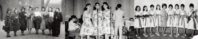 1939년 조선악극단 저고리시스터. 김시스터즈. 9인조 스윙재즈 걸밴드 블루리본(왼쪽 부터).